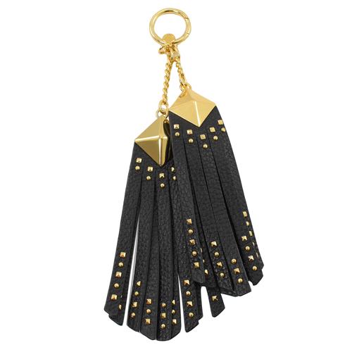 MICHAEL KORS 鉚釘流蘇牛皮鑰匙吊飾.黑