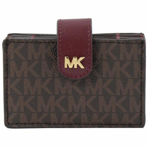 MICHAEL KORS MONEY PIECES 扣式風琴式卡片盒.深咖/紅