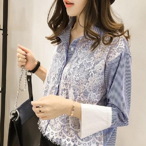 【CosmoPINK 粉紅教主】韓版蕾絲條紋甜美襯衫TLW0006-預購+現