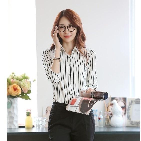 【CosmoPINK 粉紅教主】韓版條紋長袖百搭襯衫TLW0017