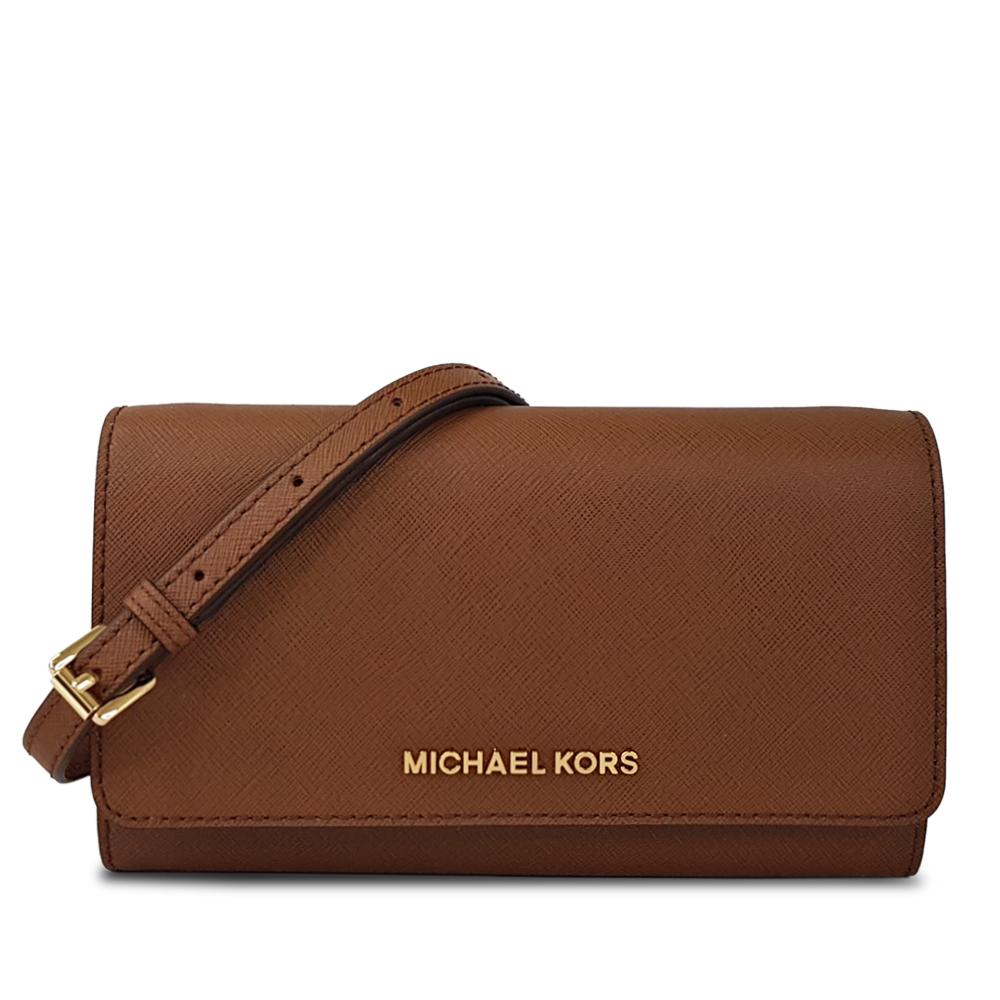 MICHAEL KORS  經典素面防刮WOC斜背包-棕色
