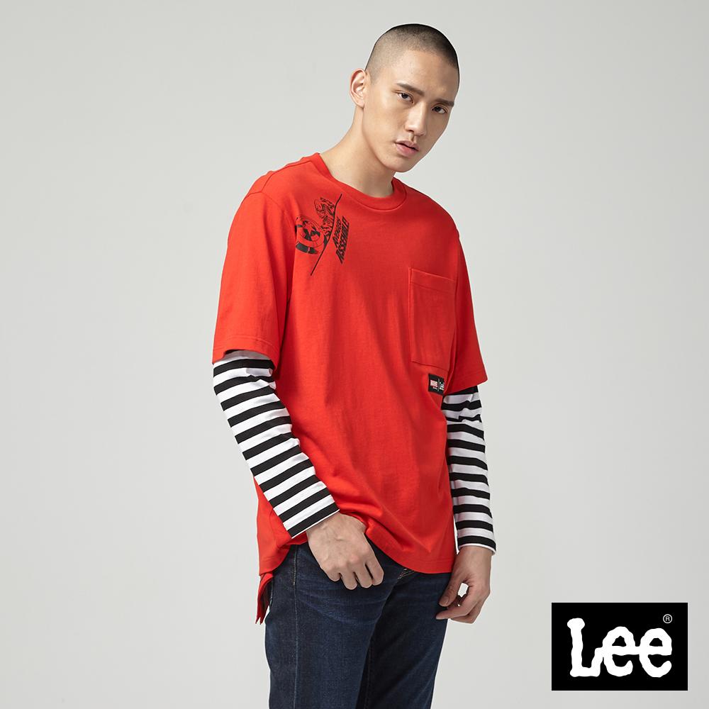 Lee Lee X Marvel聯名拼接長袖圓領TEE/MV