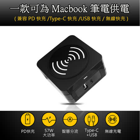 57W PD快充充電器 (兼容Type-c/USB/無線)