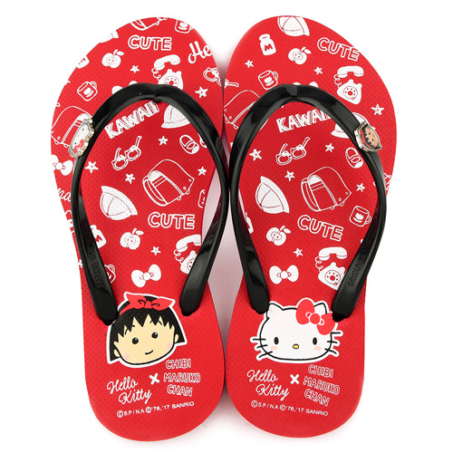 童鞋城堡- Kitty X 小丸子聯名 親子款 夾腳拖HK1204-紅