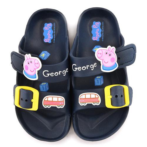 童鞋城堡-粉紅豬小妹 佩佩豬 中童 輕量戶外拖鞋PG0051-藍