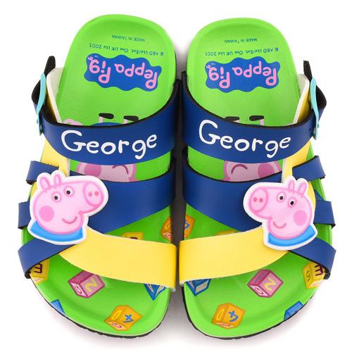 童鞋城堡-粉紅豬小妹 喬治豬 中童 可愛繽紛軟木風格拖鞋PG0064-藍