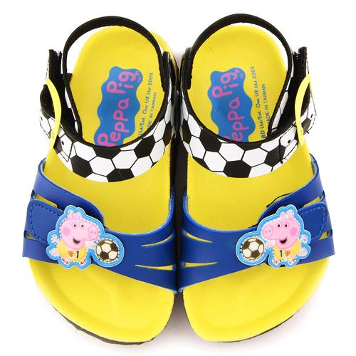 童鞋城堡-粉紅豬小妹 喬治豬 中童 足球風涼鞋PG4513-藍