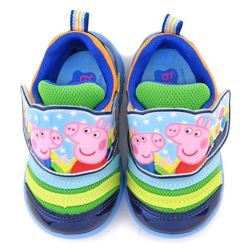 童鞋城堡-粉紅豬小妹 中童 毛毛蟲輕量運動鞋PG8536-藍