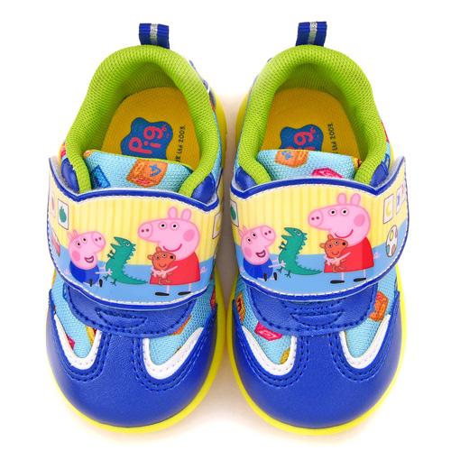 童鞋城堡-粉紅豬小妹 中童 針織布輕量運動鞋PG8552-藍