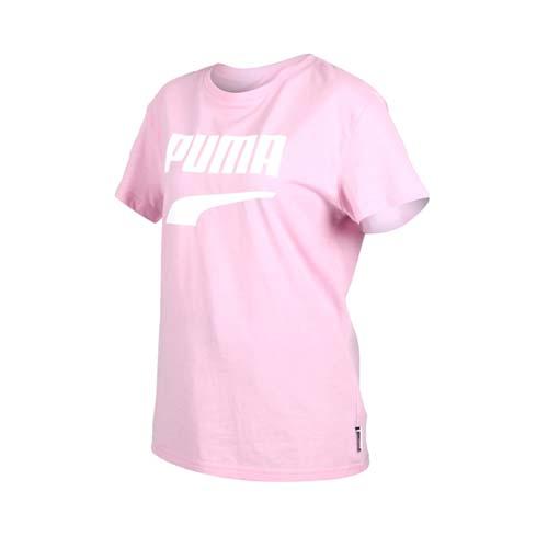 (女) PUMA DOWNTOWN 流行系列短袖T恤-慢跑 路跑 短T 粉紅白