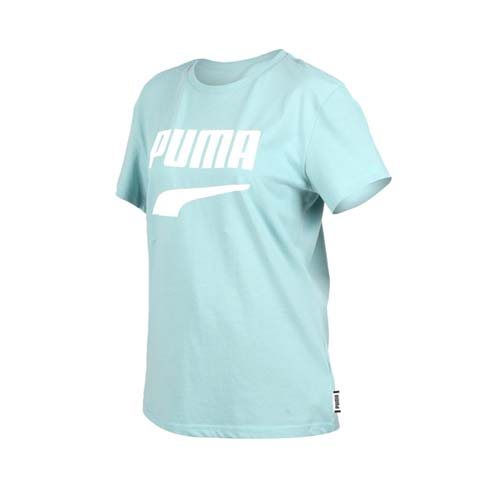 (女) PUMA DOWNTOWN 流行系列短袖T恤-慢跑 路跑 短T 湖水綠白