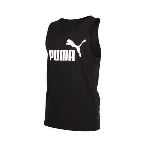 (男) PUMA 基本系列經典休閒背心-無袖上衣 慢跑 路跑 黑白