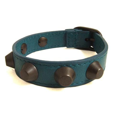 BALENCIAGA巴黎世家-搖滾鉚釘風藍綠色經典手環