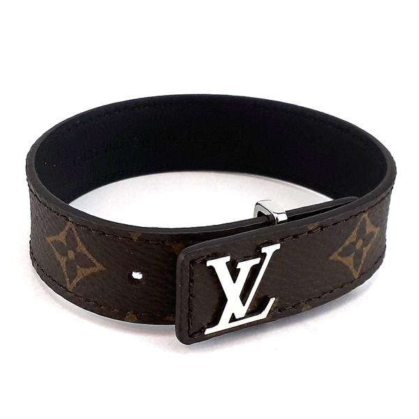 LV 經典字紋帆布銀色LV字樣鉤扣男用手環