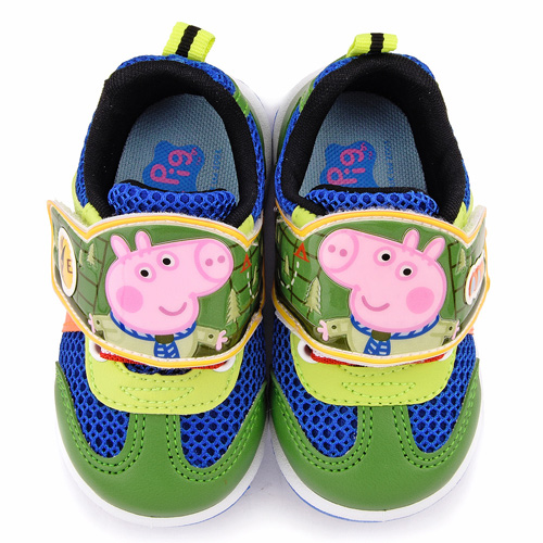 童鞋城堡-粉紅豬小妹 喬治弟弟 中童 恐龍透氣運動鞋PG6419-綠