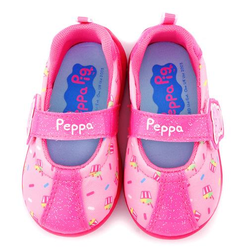 童鞋城堡-粉紅豬小妹 佩佩豬 中童 杯子蛋糕印花休閒鞋PG8514-桃