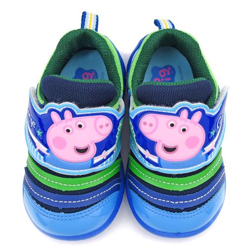 童鞋城堡-粉紅豬小妹 中童 喬治豬毛毛蟲輕量運動鞋PG8546-藍