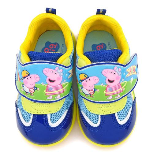 童鞋城堡-粉紅豬小妹 中童 佩佩喬治 透氣輕量運動鞋PG8560-藍