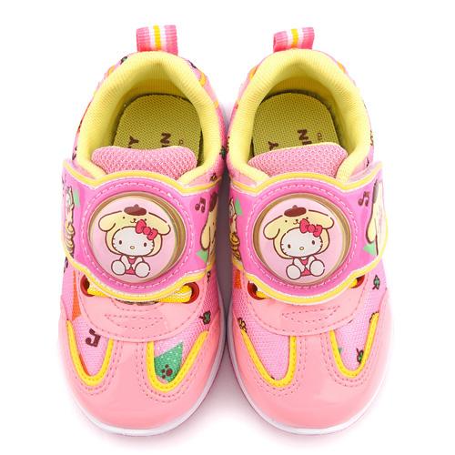 童鞋城堡-Kitty X 布丁狗聯名款 中童 輕量跑底電燈運動鞋KT7181-粉