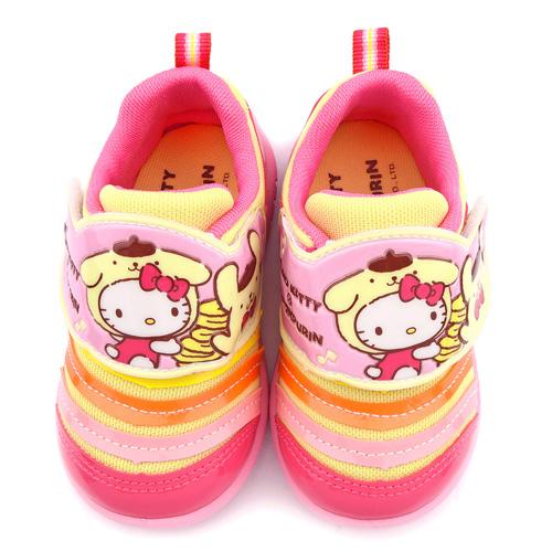 童鞋城堡-Kitty X 布丁狗聯名款 中童 毛毛蟲輕量運動鞋KT7195-粉
