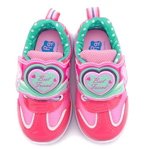 童鞋城堡-粉紅豬小妹 珮珮豬 中童 電燈輕量運動跑鞋PG6401-桃