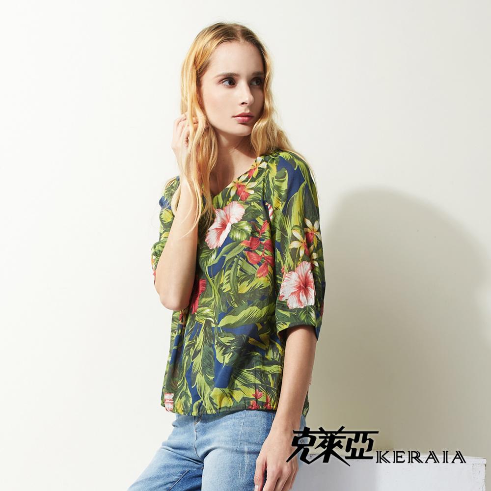 【KERAIA 克萊亞】藝術花卉日本棉上衣