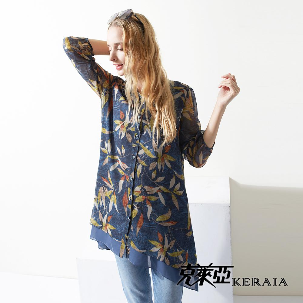 【KERAIA 克萊亞】歐風葉片繪畫雪紡長罩衫