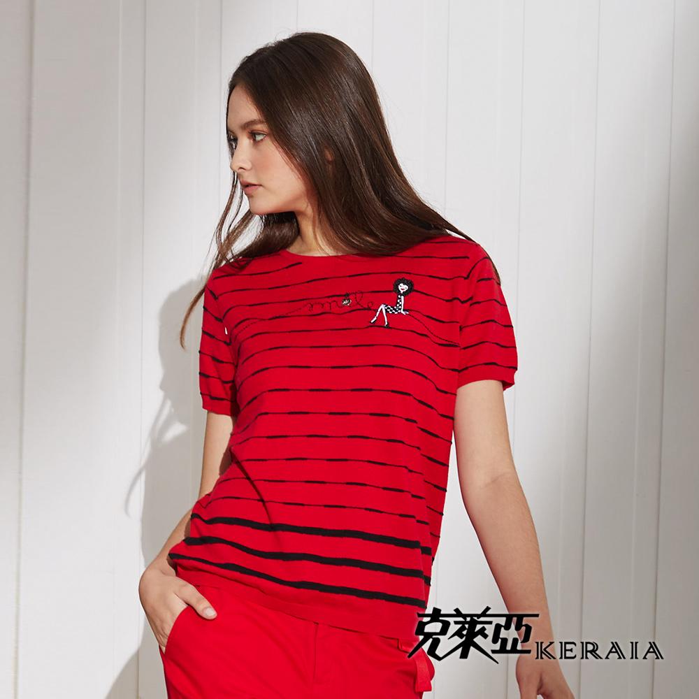 【KERAIA 克萊亞】100%棉娃娃條紋針織上衣(紅色;M-XL)