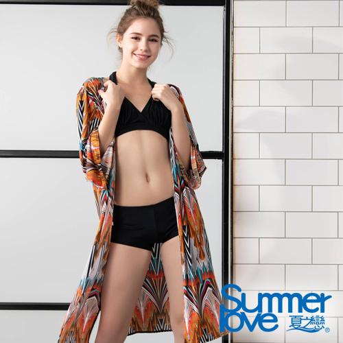 【夏之戀SUMMERLOVE】大女比基尼/外搭罩衫三件式泳裝S19701