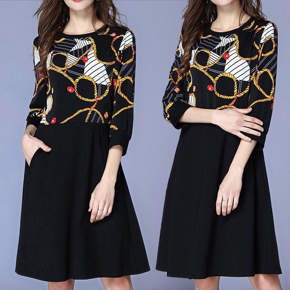 【麗質達人】8854黑色印花拼色洋裝(L-5XL)