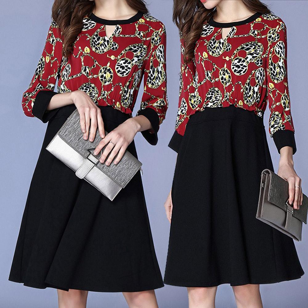 【麗質達人】8856黑紅色印花拼色洋裝(L-5XL)