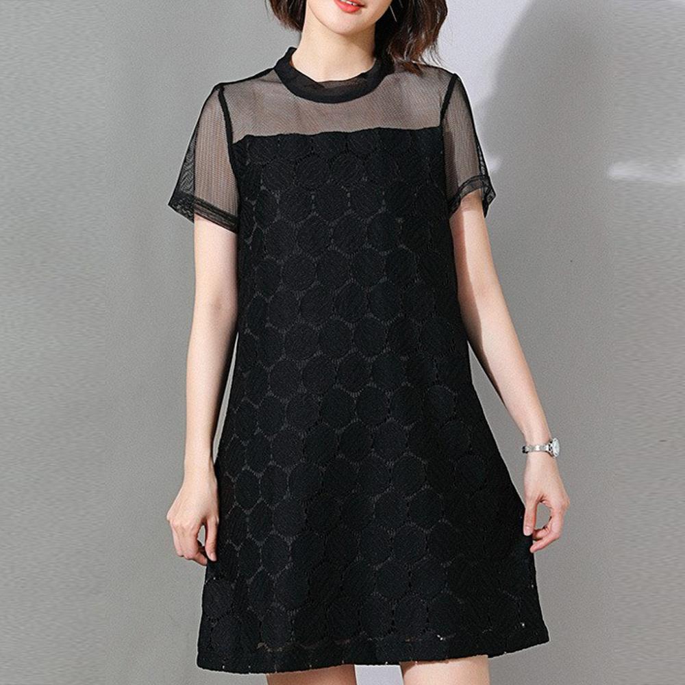 【麗質達人】19311網紗假二件洋裝(XL-5XL)