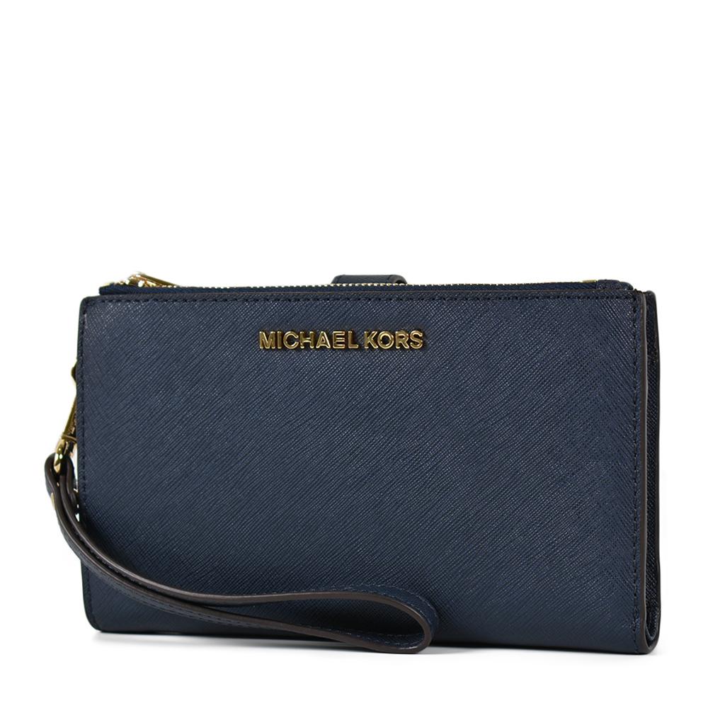 MICHAEL KORS 專櫃款 金字防刮皮革對折釦式手掛手拿/手機包-海軍藍