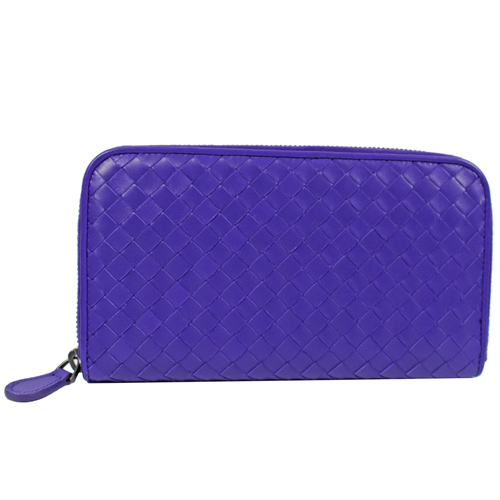 BOTTEGA VENETA 經典編織羊皮拉鍊長夾.紫