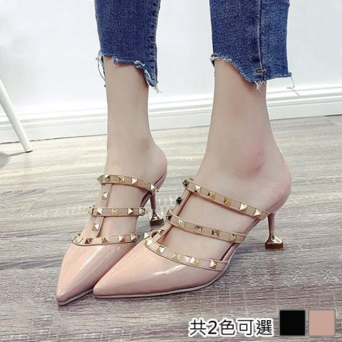 《JOYCE》(預購) 36-39 女人最大薔薇花漾鉚釘羅馬涼鞋
