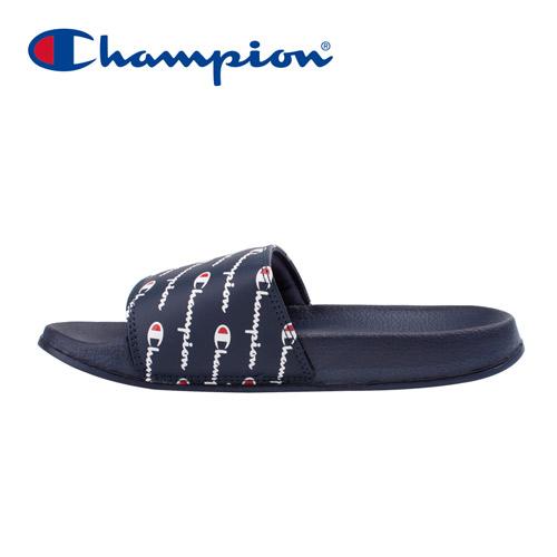 【Champion】Champion Logos 中性寬版運動拖鞋-深藍(91-3250199)