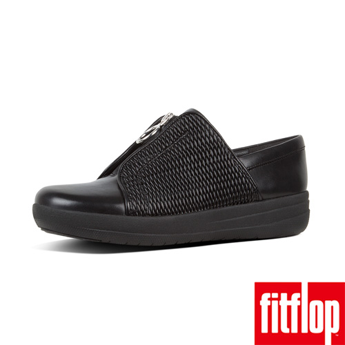 【FitFlop】F-SPORTY II SHIRRED LEATHER ZIP SNEAKERS 黑色