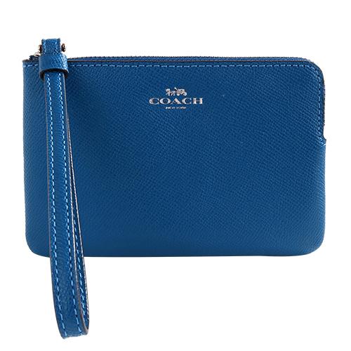 COACH- 烙印銀馬車LOGO 防刮皮革L型手拿包(寶藍)