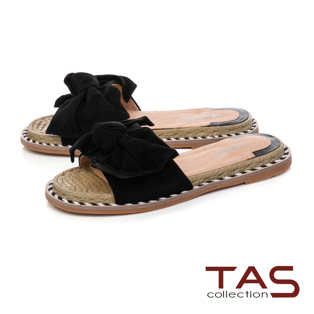 TAS立體羊毛蝴蝶結平底涼拖鞋–經典黑