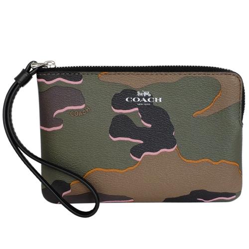 COACH軍綠迷彩紋圖印PVC萬用手拿包