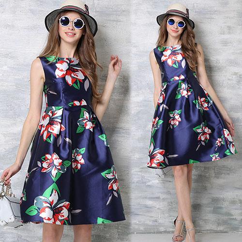 【歐風KEITH-WILL 】(現貨) 歐風優雅隨興印花洋裝