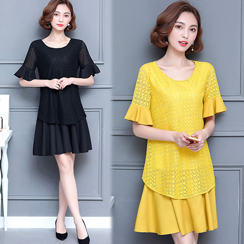 【韓國KW】(現貨) 清新氣質蕾絲顯瘦洋裝