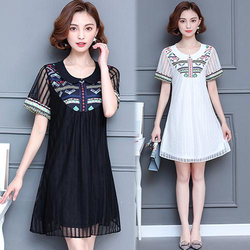 【韓國KW】(現貨) 優雅民族風印花網紗拼接顯瘦洋裝