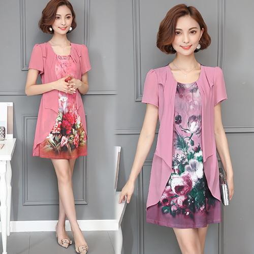 【韓國KW】(現貨) 時尚氣質印花顯瘦洋裝