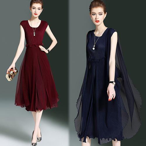 【韓國KW-歐美風】(現貨) 優雅時尚素色顯瘦壓褶洋裝