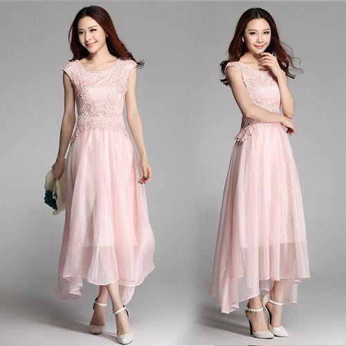 【韓國K.W.】(現貨) 亮麗女人.雪紡蕾絲洋裝