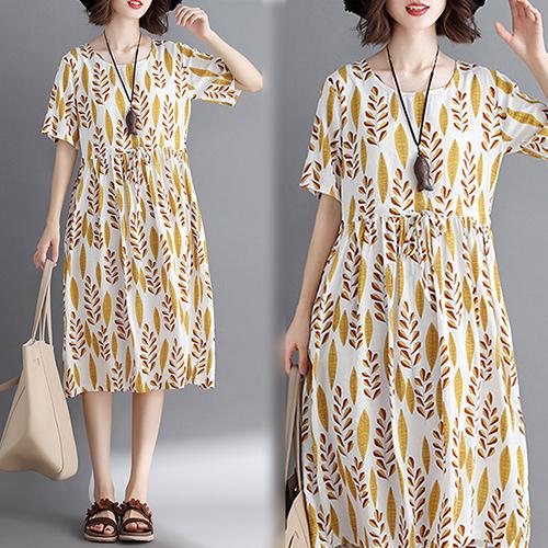 【韓國KW】(現貨) 自然亞麻舒服花形洋裝