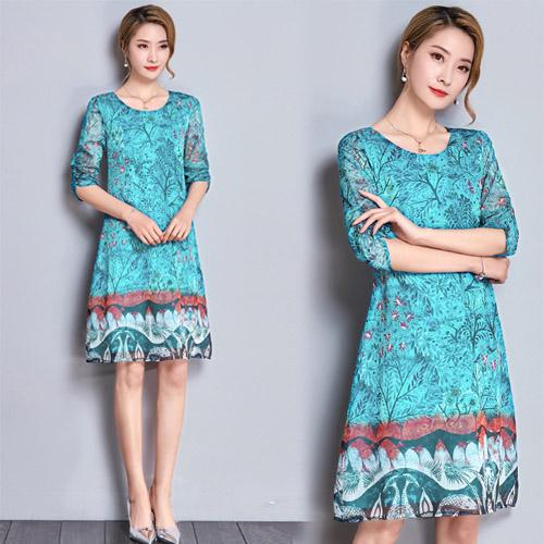 【韓國KW】(現貨) 桑蠶絲水藍印花雙層洋裝