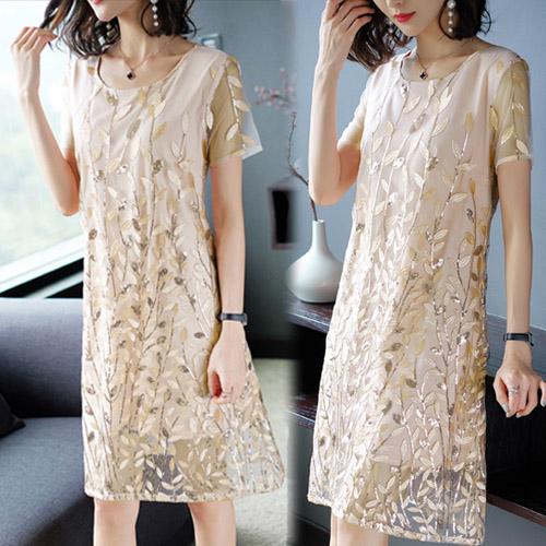 【韓國KW】(現貨) 桑蠶絲葉片立體設計刺繡洋裝