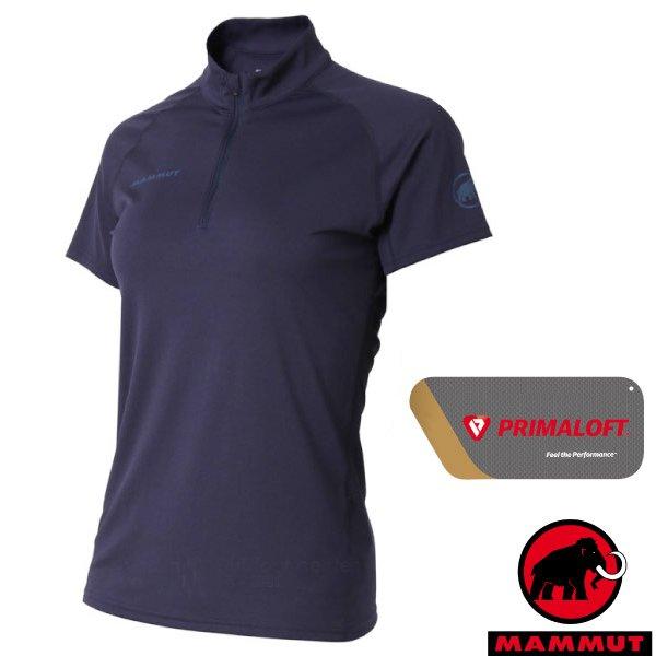 【瑞士 MAMMUT 長毛象】Performance Dry Zip 女新款 半開襟拉鍊短袖排汗上衣/1017-00430-50125 藏青